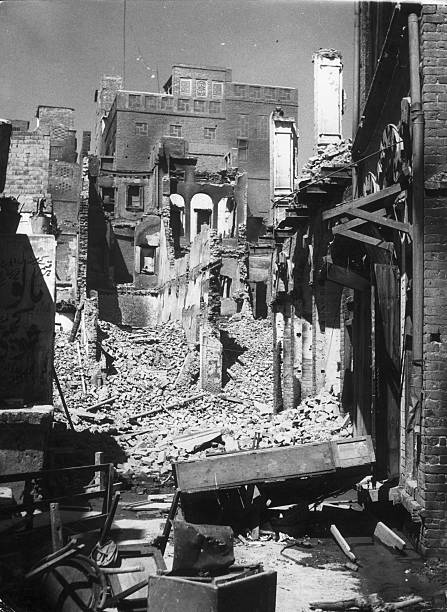 Houses and buildings lie in ruins after riots in Amritsar holy city of the Sikhs