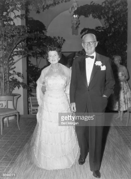 EXCLUSIVE American financier and ambassador Joseph P Kennedy and his wife Rose Kennedy in formal attire at the Everglade Club Palm Beach Florida