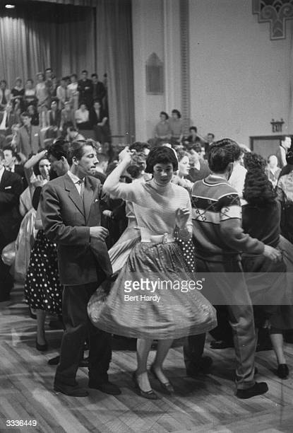 Young people jiving to Lonnie Donegan's music at a bop