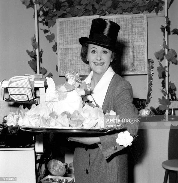 Fanny Cradock the cooking expert who was one of the first television cooks with her own series demonstrating her skills at the Ideal Home Exhibition