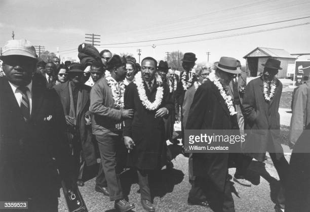 American civil rights leader Martin Luther King on a march in Alabama With him is his fellow clergyman and civil rights campaigner Ralph Abernathy