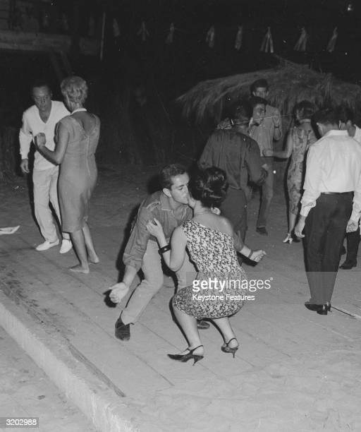 Late night revellers dancing in the Acapulco beach area of Beirut