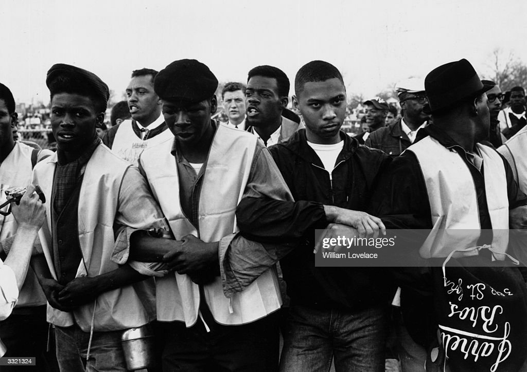 Participants in a black voting rights march in Alabama. Dr Martin Luther King led the march from Selma, Alabama, to the state capital in Montgomery.