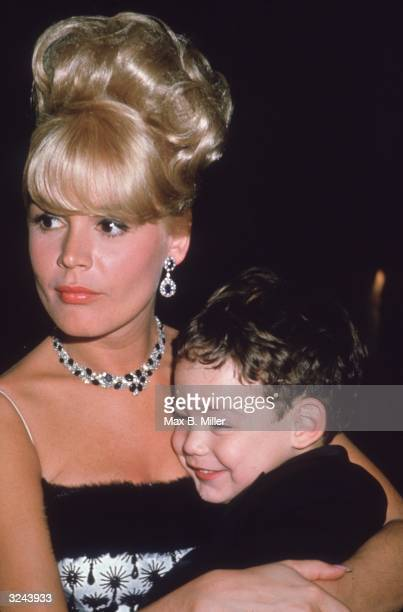 American actor Sandra Dee and her son Dodd at the Cocoanut Grove nightclub on her husband Bobby Darin's opening night Los Angeles California