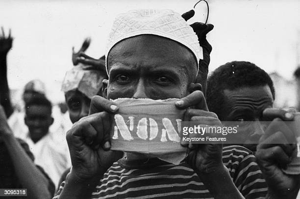A man in Somaliland saying no to French rule at a protest during the referendum