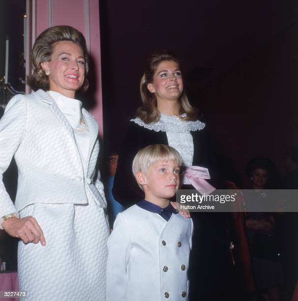 American actor Frances Bergen wife of ventriloquist Edgar Bergen attends the Moms and Moppets Ball with her daughter Candice and her son Chris...