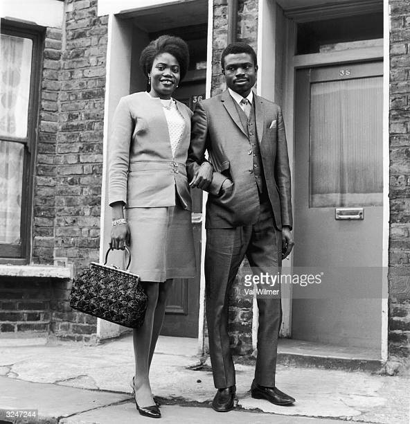 Mr and Mrs Gabriel Samuel two Nigerian students living in London on the day of their wedding
