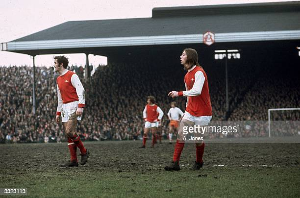 Arsenal Football Club's George Graham and Charlie George during a match against Blackpool at Highbury