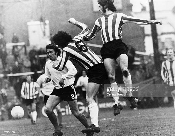 Footballer Ritchie Pitt and Sunderland FC teammate Dave Watson during a match against Fulham FC at their ground at Craven Cottage which ended in...