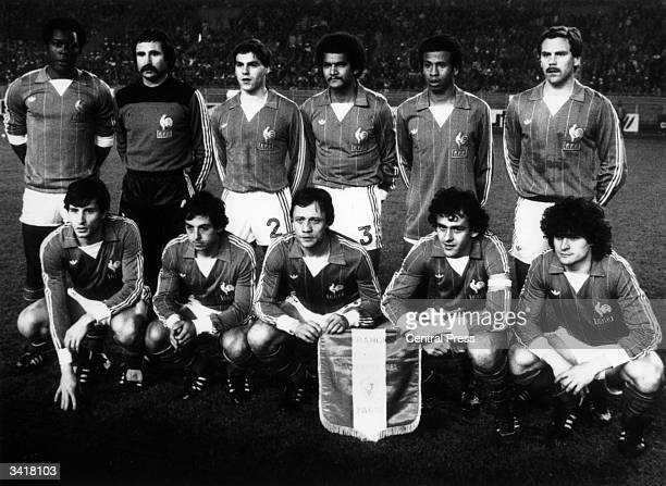 France's football team in Lausanne Tresor Baratelli Amoros Janvion Jean Tigana Lopez Soler Giresse Lacombe Michel Platini Six