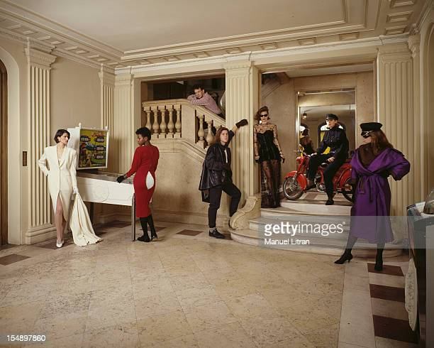 March 1983 the designers Thierry Mugler and Jean Paul Gaultier PRES collection in the Louvre courtyard Models pose in a hall of the museum
