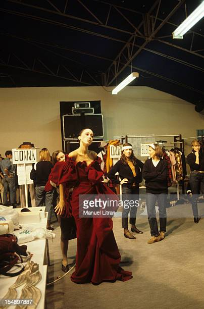 March 1983 the designers Thierry Mugler and Jean Paul Gaultier PRES collection in the Louvre courtyard In the slides a mannequin wearing a red...