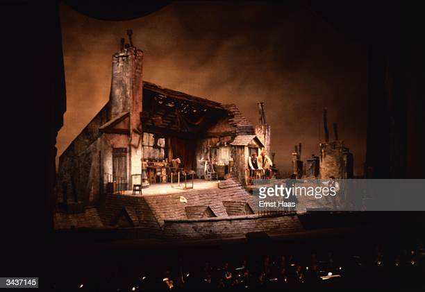 The Parisian garrett setting of Puccini's opera 'La Boheme' at the Metropolitan Opera New York Production and set design by Franco Zeffirelli