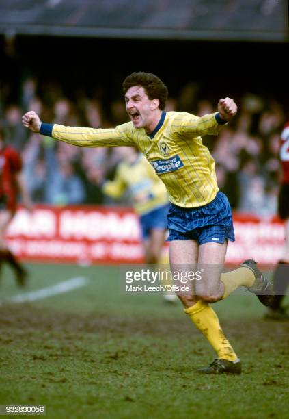 23 March 1985 Oxford Football League Division One Oxford United v Manchester City John Aldridge of Oxford celebrates one of the three goals scored by...
