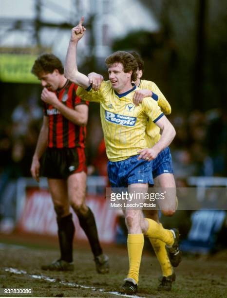 23 March 1985 Oxford Football League Division One Oxford United v Manchester City Tevor Hebberd celebrates a goal for Oxford
