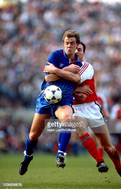 17 March 1990 Football League Division One Arsenal v Chelsea Kerry Dixon of Chelsea is held by Steve Bould of Arsenal