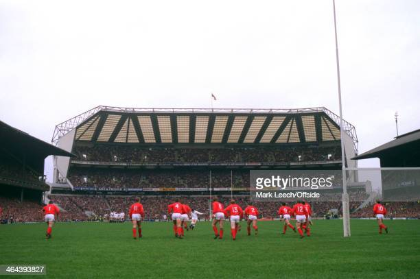 7 March 1992 5 Nations Rugby England v Wales A general view of Twickenham stadium looking towards the south stand as Welsh players run towards an...