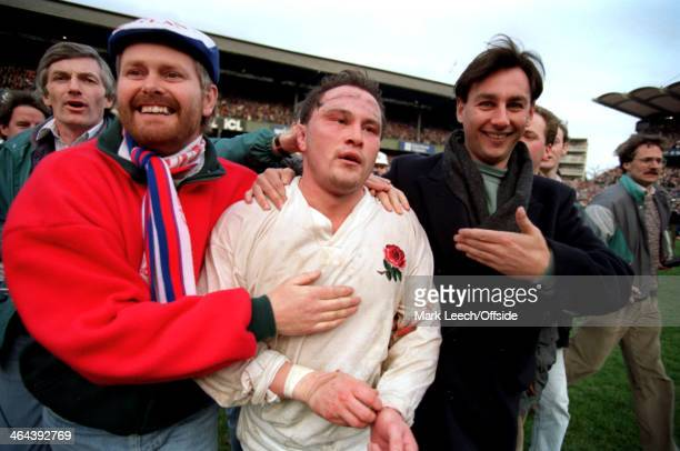 7 March 1992 5 Nations Rugby England v Wales Fans run on to the pitch at the final whistle to embrace exhausted England hooker Brian Moore