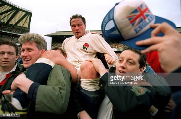 7 March 1992 5 Nations Rugby England v Wales Fans run on to the pitch at the final whistle to carry off exhausted England hooker Brian Moore