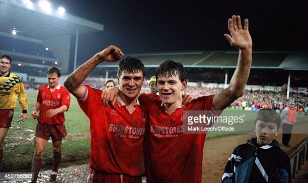 1 March 1992 Rumbelows Cup Semi Final Tottenham Hotspur v Nottingham Forest Roy Keane and Lee Glover celebrate the semi final win