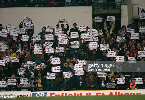 1 March 1992 Rumbelows Cup Semi Final Tottenham Hotspur v Nottingham Forest Tottenham Hotspur fans stand with protest signs against the FA rule of...