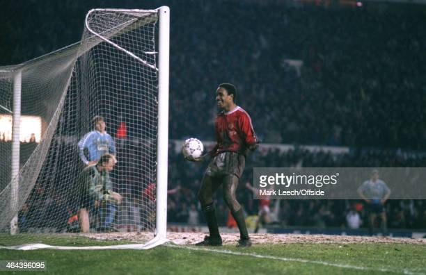 11 March 1992 Rumbelows Cup SemiFinal Manchester United v Middlesbrough Paul Ince looks on as teammate Ryan Giggs scores a goal for Manchester United