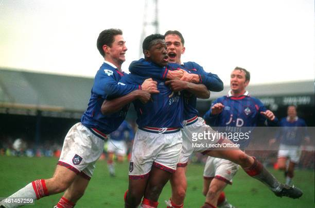 12 March 1994 FA Cup Quarter Final Bolton Wanderers v Oldham Athletic Oldham players celebrate the winning goal with goalscorer Darren Beckford