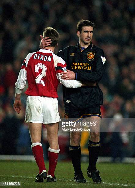 22 March 1994 FA Premiership Arsenal v Manchester United Lee Dixon embraces Eric Cantona after the United player is sent off