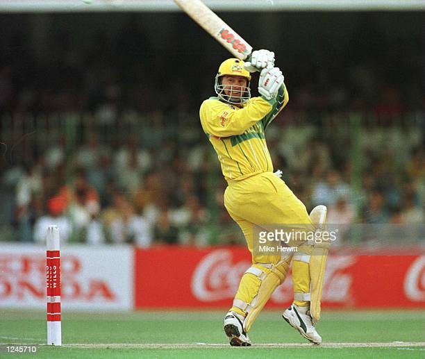 Australia captain Mark Taylor plays a shot during the Cricket World Cup Final between Australia and Sri Lanka played at the Gaddafi stadium in Lahore...