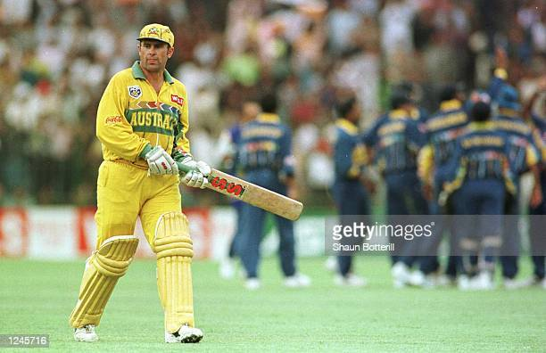 Australia captain Mark Taylor walks off dejected after losing his wicket during the Cricket World Cup Final between Australia and Sri Lanka played at...