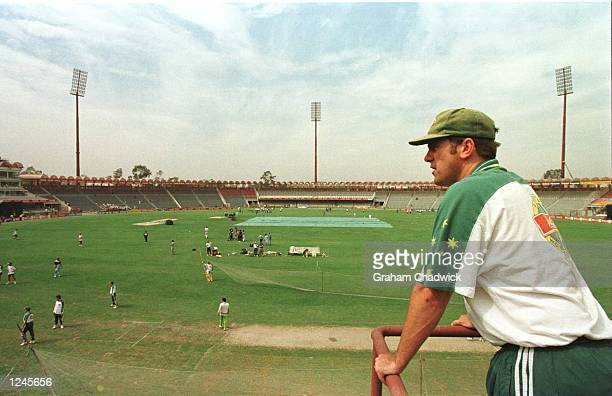 Australia captain Mark Taylor watches his teammate train during Australia nets session prior to the World Cup Final between Australia and Sri Lanka...