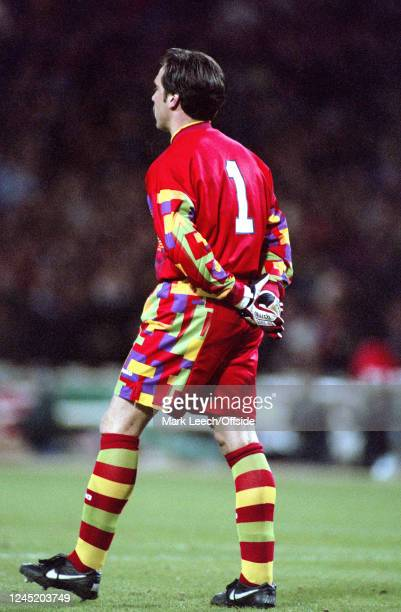 March 1996 - International Friendly - England v Bulgaria - England goalkeeper David Seaman in a colourful kit -