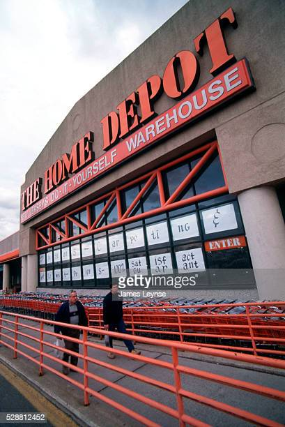 Shoppers enter the Home Depot hardware store