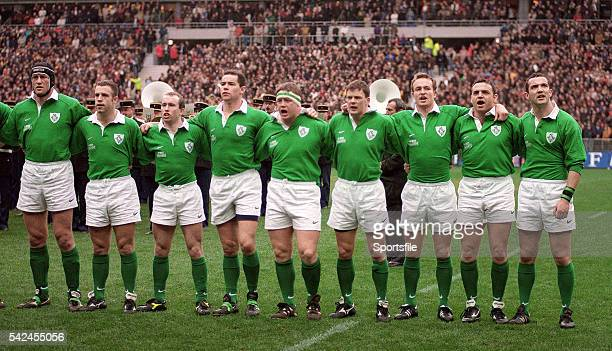 7 March 1998 Ireland players from left Paddy Johns Kevin Maggs Conor McGuinness Andy Ward Paul Wallace Richard Wallace Denis Hickie Rob Henderson and...