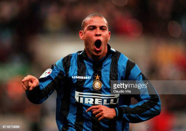 Ronaldo of Inter Milan celebrates during the Serie A match between Milan and Inter Milan played at the 'Giuseppe Meazza' in Milan