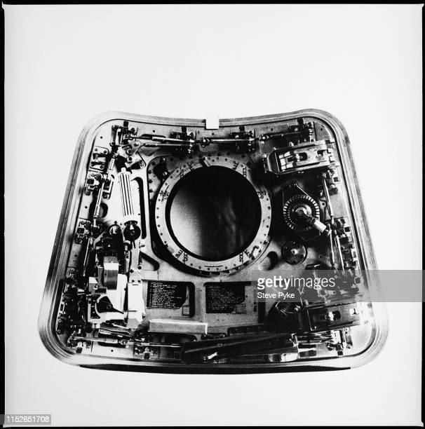 The inside of the hatch from the Apollo 11 Command Module It could be opened in five seconds by pumping the handle to activate a pressurized nitrogen...