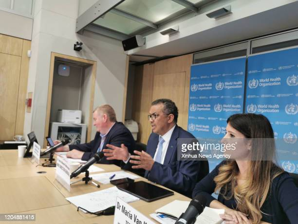 GENEVA March 2 2020 Maria van Kerkhove R technical lead for the WHO's Health Emergencies Program attends a daily briefing in Geneva Switzerland on...
