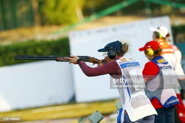 March 2, 2021 -- Galvez Fatima L of Spain competes during the women's trap final at the ISSF World Cup Shortgun in Cairo, Egypt, on March 2, 2021.