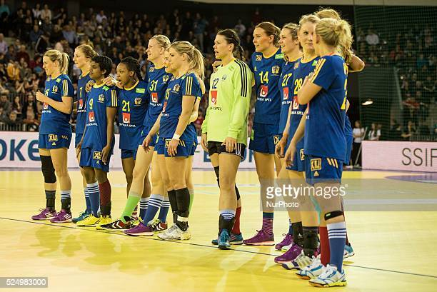 The Sweden team before the free throws from left to right Johanna Ahlm Linn Blohm Louise Sand Dafe Edijana AnnaMaria Johansson Wallen Angelica...