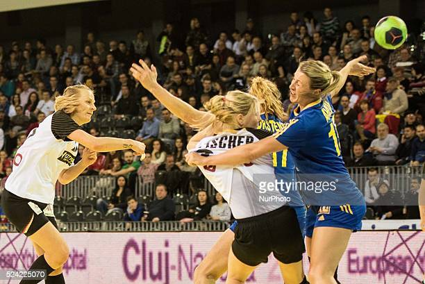 Worez Nina of Germany National Team and Johanna Ahlm of Sweden National Team in action during the women's Carpathian Trophy handball tournament match...