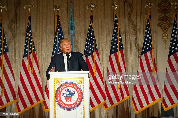 Donald Trump Keynote Speaker Donald Trump with guest Dr Ben Carson attend the Palm Beach Lincoln Day Dinner at MaraLago Palm Beach Florida