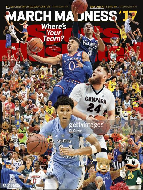 March 20, 2017 Sports Illustrated via Getty Images Cover: College Basketball: March Madness Preview: Top to bottom: Villanova Josh Hart in action,...