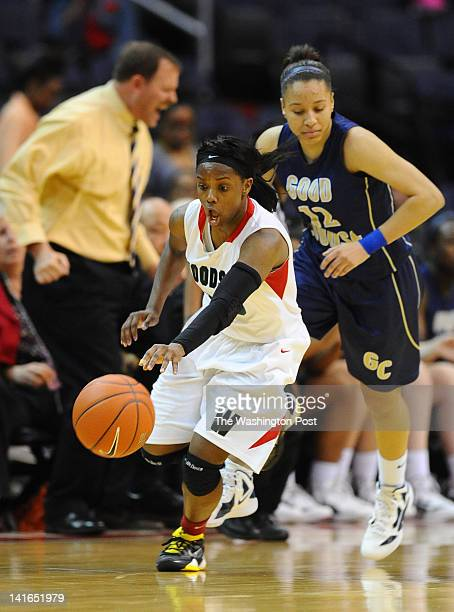 HD Woodson G Chanel Green makes a big steal late in the action during their win over Good Counsel on March 20 2012 in Washington DC