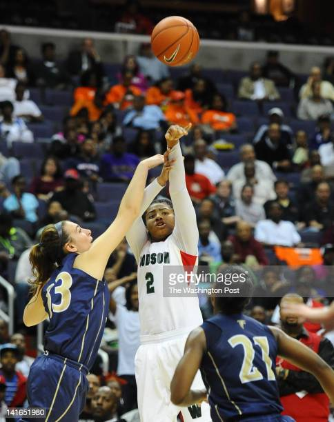 HD Woodson G Rahni Bell is fouled as she launches a shot during 2nd half action against Good Counsel on March 20 2012 in Washington DC