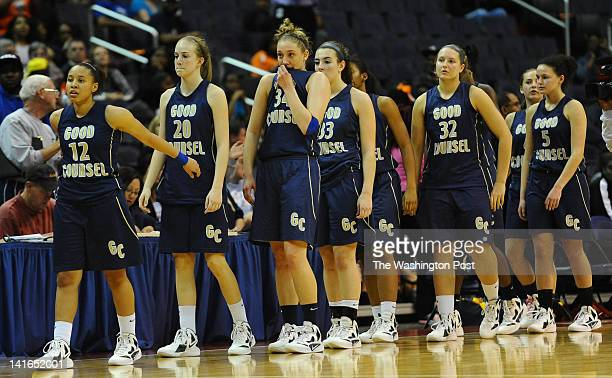 Members of the Good Counsel team line up after their 6454 loss to HD Woodson in the City title game on March 20 2012 in Washington DC