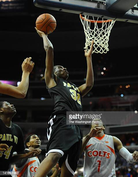 Paul VI F Coleman Johnson makes a big putback in the final minutes against Coolidge to win the Abe Pollin City Title game on March 20 2012 in...