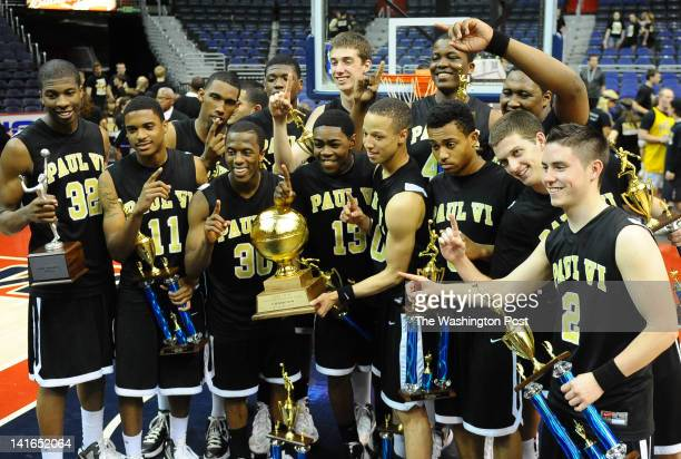 Paul VI players celebrate their Abe Pollin City Title after beating Coolidge on March 20 2012 in Washington DC