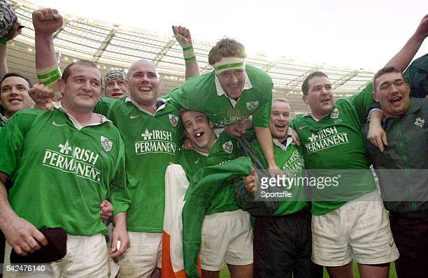 March 2000; Ireland players, from left, Peter Clohessy, John Hayes, Kevin Maggs, Denis Hickie, Frank Sheahan, Anthony Foley and Justin Fitzpatrick...