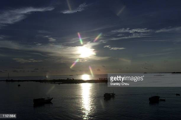 Sunset at the Makassar's Straits during the Asian Club Championship East Asia zone quarter finals football match at the Mattoanging Makassar Stadium...