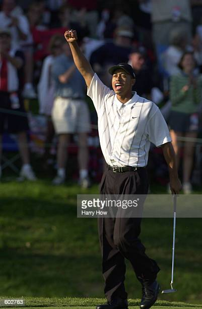 Tiger Woods celebrates after holing a long birdie on the 17th hole at TPC at Sawgrass during the third round of play at The Players Championship in...